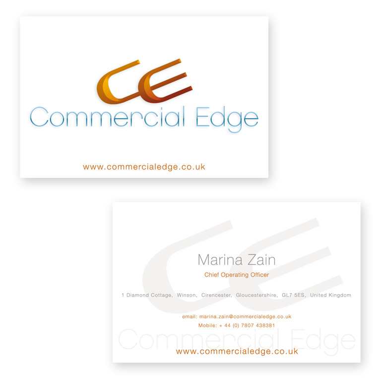 Commercial edge freelance graphic designer business card design commercial edge logo design graphic designer london reheart Choice Image