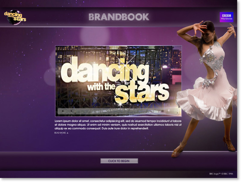 Dancing with the Stars Screen shot design intro text page | Graphic Designer London