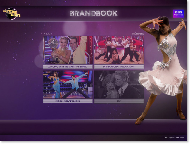 Dancing with the Stars Screen shot choose a section | Graphic Designer London