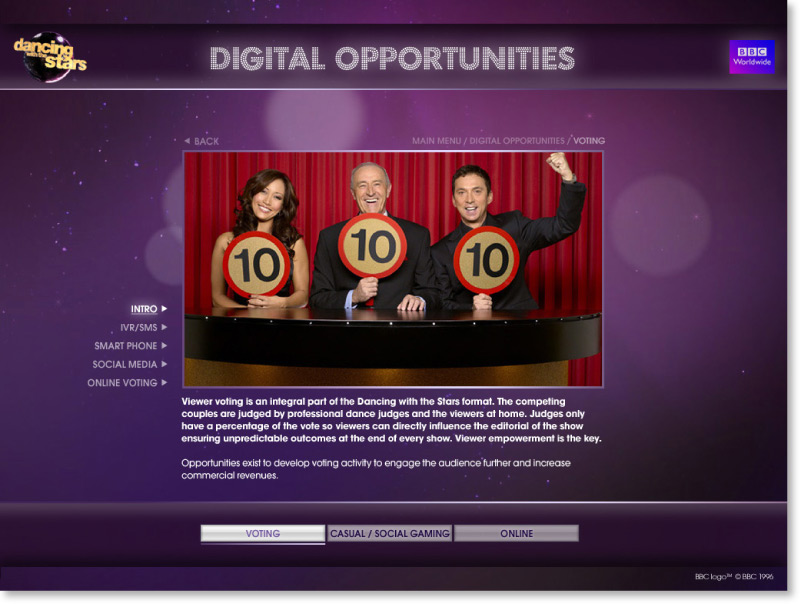 Dancing with the Stars Screen shot design 02 | Graphic Designer London
